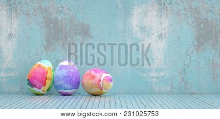 Painted easter eggs for Easter in front of a blue grunge background (3D Rendering)