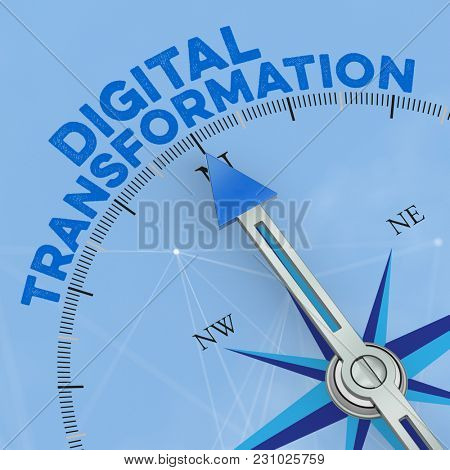 Digital Transformation concept with arrow from a compass (3D Rendering)