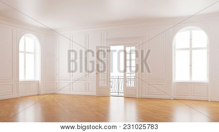 Elegant hall with stucco in old building with balcony and double door (3D Rendering)