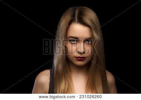 Sensual Glamour Portrait Of Beautiful Blond Woman Model Lady With Bright Makeup And Red Lips Touchin