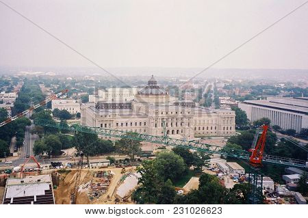 The Library Of Congress Building Aerial Elevated View As Seen From The Top The United States Capitol