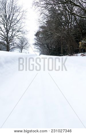 Snow Covered Landscape During The Beast From The East Winter Storm