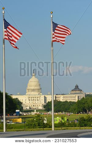 Washington DC - United States Capitol Building as seen from Washington Monument