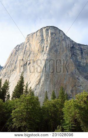 El Capitan Rock From Yosemite National Park, California Usa. Geological Formations.
