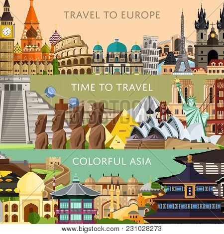 Worldwide Travel Horizontal Flyers With Famous Architectural Attractions. Travel To Europe. Colorful