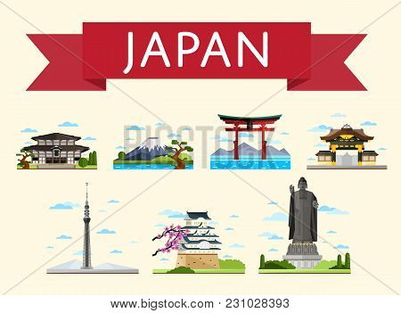 Japan Travel Set Of Famous Asian Attractions On White Background,  Illustration. Torii Gate, Fujiyam