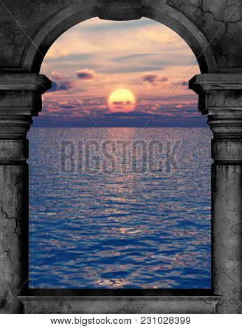 A Premade Background Of An Archway Looking Out Into The Setting Sun And Water.