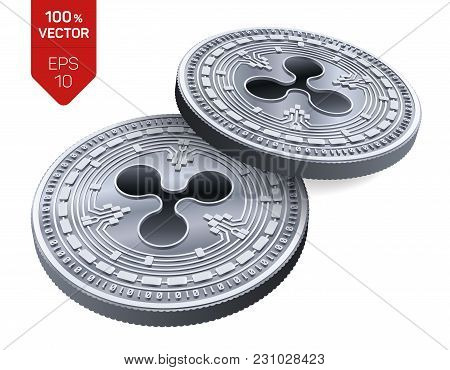 Ripple. 3d Isometric Physical Coins. Digital Currency. Crypto Currency. Silver Coins With Ripple Sym
