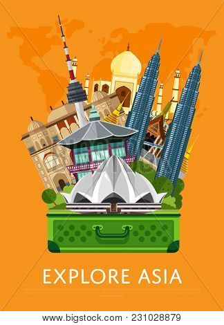 Explore Asia Banner With Lotus Temple, Taj Mahal, Petronas Twin Towers And Others Famous Architectur