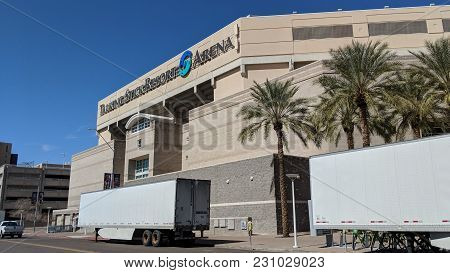 Phoenix, Az, Usa - March 5, 2018: Talking Stick Resort Arena With Parked Nearby Trailers Along Jacks