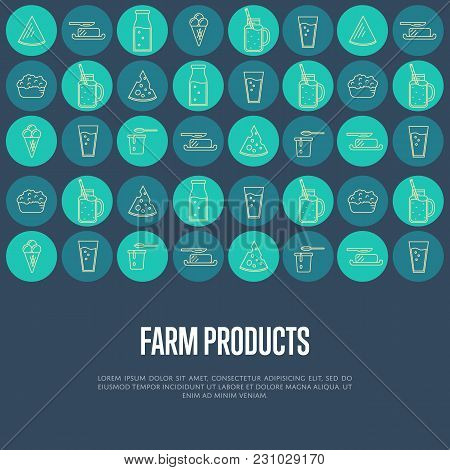 Farm Products Banner With Different Dairy Round Icons And Space For Text,  Illustration. Nutritious