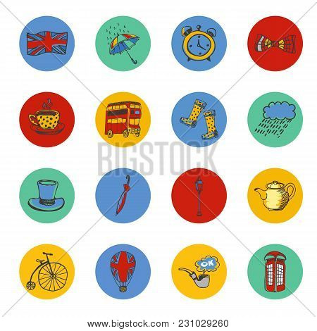 National Symbols Of England Drawn Colored Icons. Architecture, Transport, Tradition, Clothing, Weath
