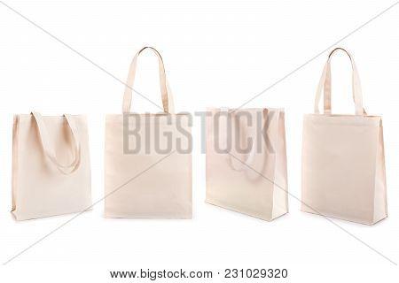 Set Of White Cotton Bag Isolated On White Background