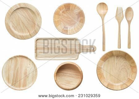 Top View Set Of Bright Empty Wooden Bowl And Kitchenware Isolated On White Background. Saved With Cl