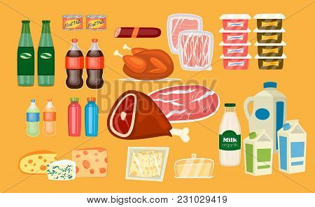 Daily Food Products Icons. Beverage, Sausage, Poultry, Bacon, Yogurt, Juice, Meat, Milk, Sliced Chee