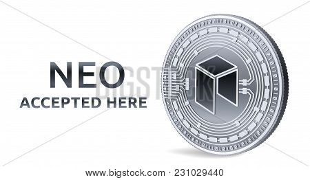 Neo. Accepted Sign Emblem. Crypto Currency. Silver Coin With Neo Symbol Isolated On White Background