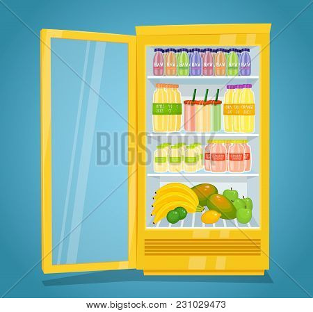 Commercial Refrigerator Full Of Fruity Products. Opened Fridge Filled With Fruits, Juices And Smooth