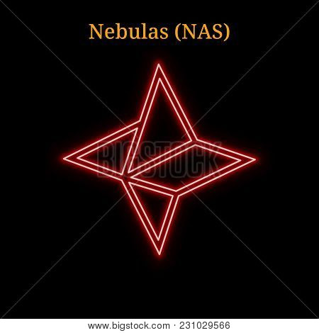 Red Neon Nebulas (nas) Cryptocurrency Symbol. Vector Illustration Eps10 Isolated On Black Background