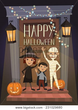 Happy Halloween Night Party Banner With Funny Kids In Carnival Costumes Mummy, Vampire And Witch On