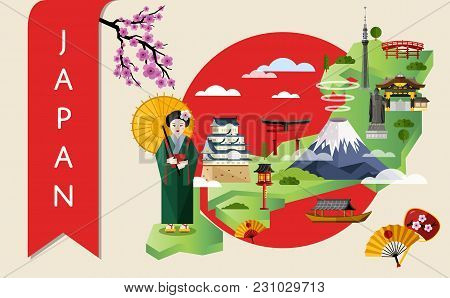 Japan Famous Landmarks And Travel Map With Asian Girl In Traditional Dress On Background Of Red Sun