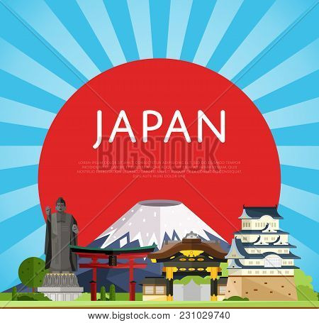 Japan Travel Poster With Torii Gate, Fujiyama, Buddha Statue And Ancient Temples,  Illustration. Fam