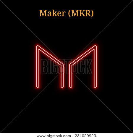 Red Neon Maker (mkr) Cryptocurrency Symbol. Vector Illustration Eps10 Isolated On Black Background