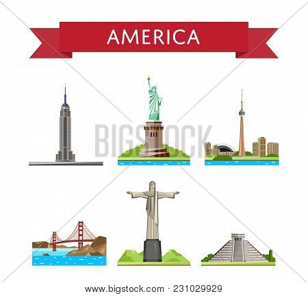 American Travel Set Of Famous Architectural Attractions Isolated On White Background  Illustration.