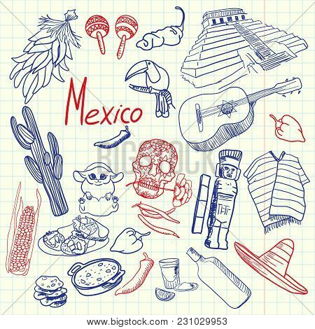 Mexico Associated Symbols. Mexican National, Cultural, Culinary, Nature, Historical, Fashion Related
