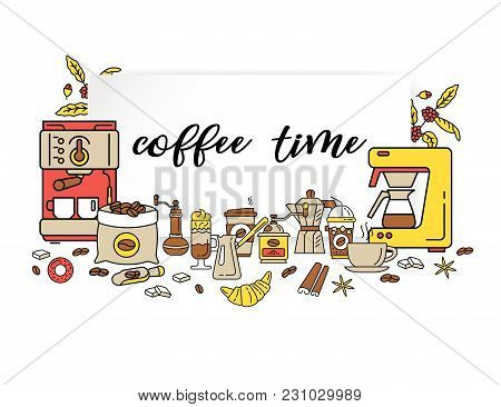 Coffee Shop Flat Line Collection Drink Decorative Banner. Modern Icons For Coffee Shop And Coffee Ho