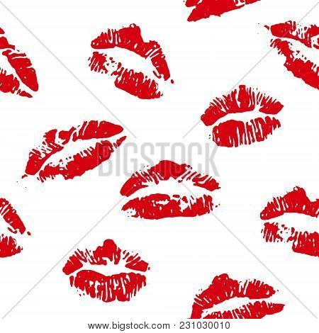 Lips Print Red Seamless Vector Background On White