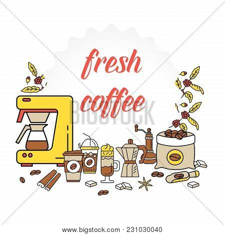 Coffee Break Flat Line Collection Drink Decorative Banner. Modern Icons For Coffee Shop And Coffee H