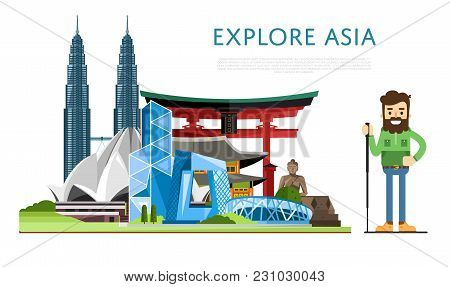 Explore Asia Banner With Smiling Tourist On Background Of Famous Traditional And Modern Architecture