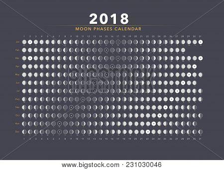 Moon Phases Calendar Vector On Dark Gray