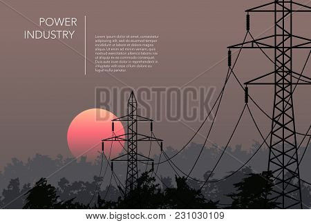 Transmission Towers Beauty Landscape Background Vector Template