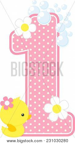 Number 1 With Bubbles And Cute Rubber Duck Isolated On White. Can Be Used For Baby Girl Birth Announ