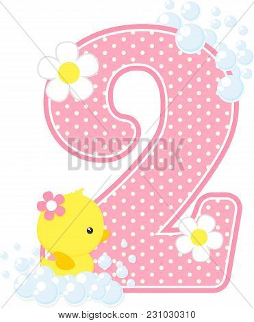 Number 2 With Bubbles And Cute Rubber Duck Isolated On White. Can Be Used For Baby Girl Birth Announ