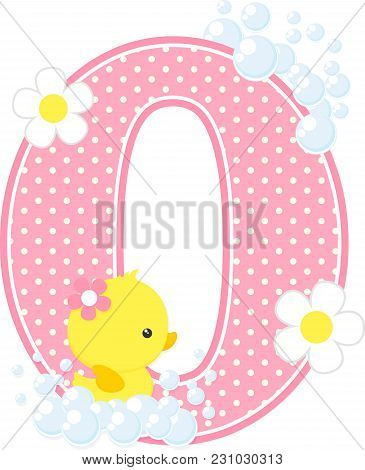 Number 0 With Bubbles And Cute Rubber Duck Isolated On White. Can Be Used For Baby Girl Birth Announ