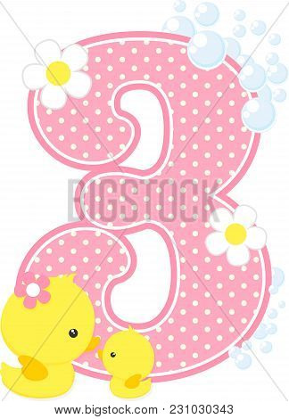 Number 3 With Bubbles And Cute Rubber Duck Isolated On White. Can Be Used For Baby Girl Birth Announ