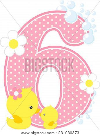 Number 6 With Bubbles And Cute Rubber Duck Isolated On White. Can Be Used For Baby Girl Birth Announ