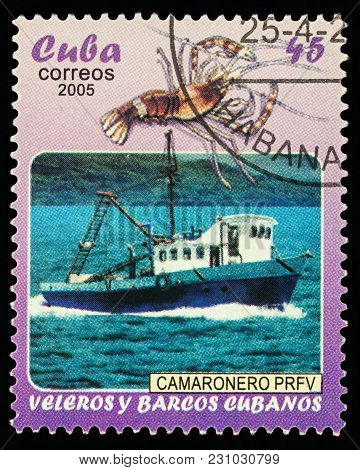 Moscow, Russia - March 13, 2018: A Stamp Printed In Cuba Shows Fishing Ship And Lobster, Series