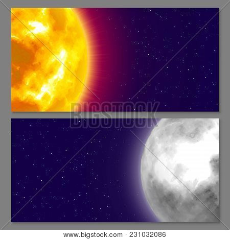 Two Cards With Celestial Bodies Moon And Sun, Night Background, Cartoon Style. Flyers And Posters On