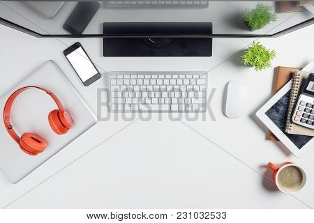 Modern White Office Desk Table With Computer,calculator,tablet,notebook,laptop,blank Screen Smartpho
