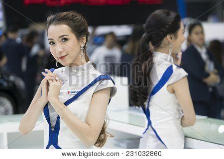 Bangkok-thailand-3 December 2017: Unidentified Female Presenters Model At The Suzuki Booth  At Motor