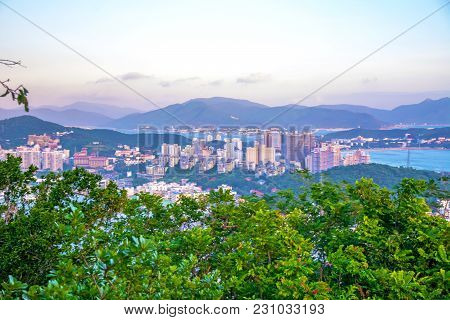 Panorama Of The City Of Sanya, A View Of The City In The Highest Point, The Island Of The Phoenix. A