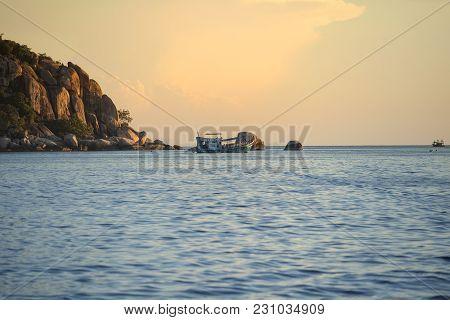 Scuba Diving Boat Sailing To Night Dive Destination Around Koh Tao Most Popular Traveling Destinatio