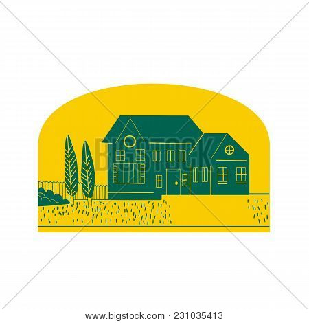 Retro Style Illustration Of A Vintage American House, Home,residence Or Dwelling With Front Lawn, Tr