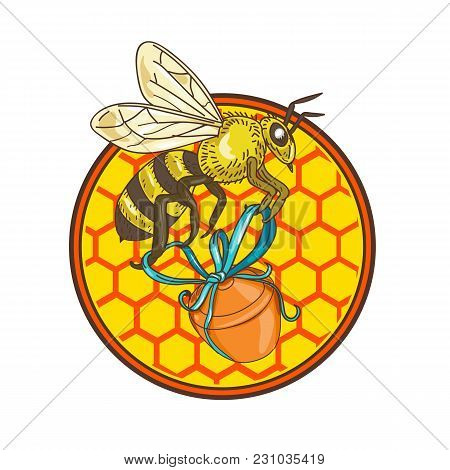 Icon Retro Style Illustration Of A Bumblebee Or Bumble Bee, Member Of Genus Bombus, Part Of Apidae O
