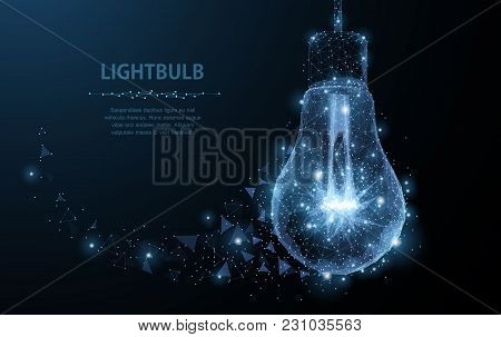Lightbulb. Polygonal Mesh Art With Crumbled Edge On Blue Night Sky With Dots, Stars And Looks Like C