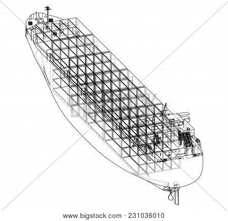 Cargo Ship With Containers. Vector Rendering Of 3d. Wire-frame Style. The Layers Of Visible And Invi