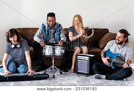 People together enjoying music